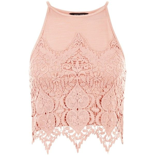dc2e19c655341 New Look Mid Pink Guipure Lace Crop Top ($21) ❤ liked on Polyvore featuring  tops, mid pink, pink crop top, pink top, sum… | Polyvore Palooza Parade ...