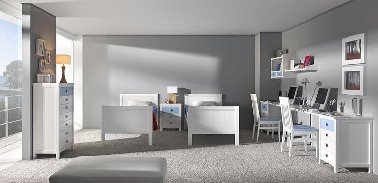 Dormitorio juvenil dos camas de madera y escritorio m s for Dormitorios juveniles de madera