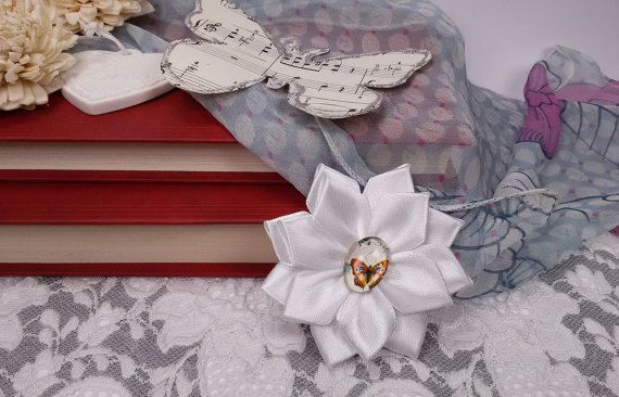 White ribbon brooch satin ribbon flower brooch by Rocreanique on Etsy