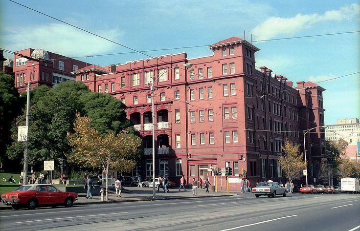 Queen Victoria Memorial Hospital, former Melbourne Hospital 1985  Swanston Street, Born here
