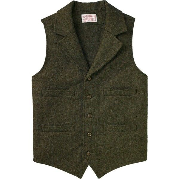 Filson Mackinaw Western Vest (595 BRL) ❤ liked on Polyvore featuring men's fashion, men's clothing, men's outerwear, men's vests, mens utility vest, mens button sweater vest, mens pocket vest, mens long vest and mens cowboy vests