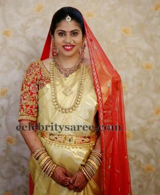 Bride in Elbow Length Zardosi Blouse | Saree Blouse Patterns