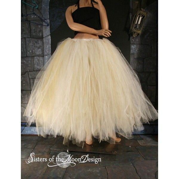 Bridal Glimmer Tulle Skirt Floor Length Streamer Formal Ivory Gold... ($160) ❤ liked on Polyvore featuring costumes, skirts, plus size costumes, plus size steampunk costume, bride costume, adult steampunk costume and adult halloween costumes