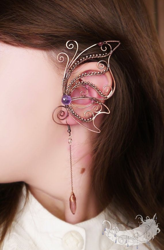 This listing is for a set of left ear cuff and earrings.    Very pretty set made with copper wire, amethyst, tourmaline and glass. Ready to