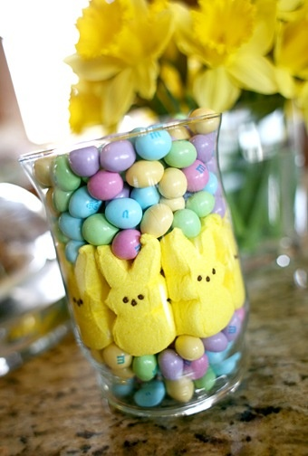 Easter Decor. Not sure if this is a good idea or not as I'd eat the whole damn thing in an afternoon. Maybe if I sealed the top with wax? :P