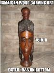 Modern 1980's Jamaican mahogany wood carving tribe staute signed wood carving art for sale online.