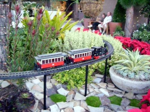 This little model train is awesome in the garden