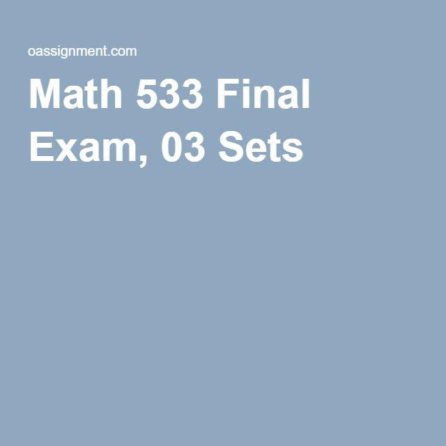 Math 533 Final Exam, 03 Sets