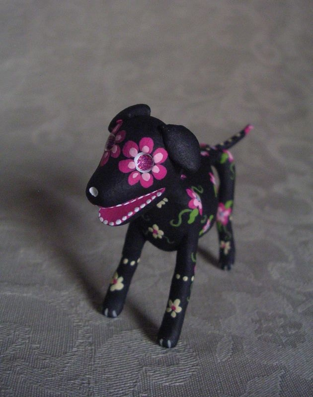 Miniature Day of the Dead Art Sugar Skull Black Dog Skeleton Animal. $40.00, via Etsy.