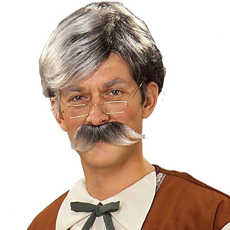 Adult Geppetto Costume Wig & Mustache, Men's, Grey