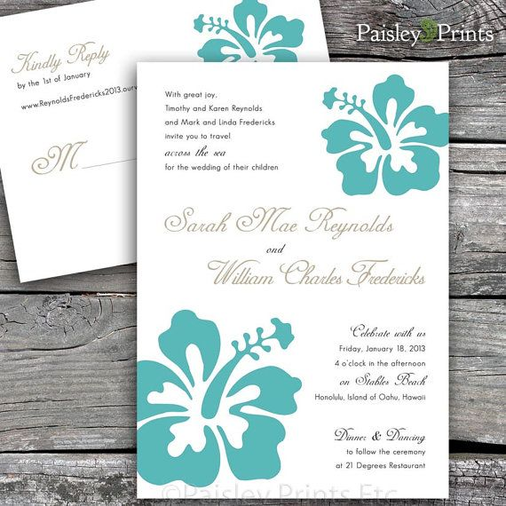 Hawaiian Hibiscus Wedding Invitation and Reply by Paisley Prints Etc, $35.00