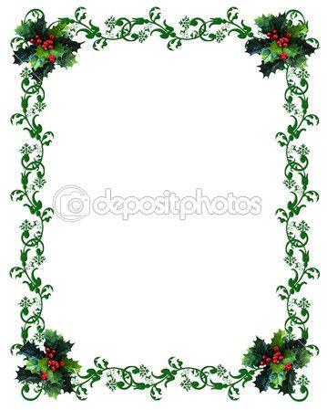 Immagine e illustrazione composizione verde bordo ornamentale con agrifoglio di Natale per auguri sfondo, cornice o modello. copia spazio