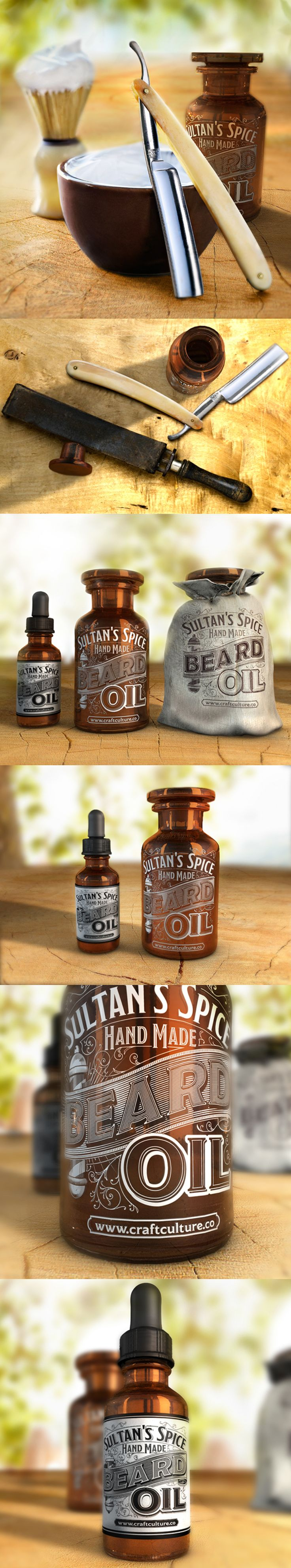 Concept packaging of Craft Culture Co's best-selling Sultan's spice beard conditioning oil by the immensely talented Abraham García. Beard oil is for itchy, dry facial hair and flaky skin. Vegan, palm oil- and cruelty-free. Get it at http://www.craftculture.co/product/sultans-spice-beard-softening-oil/