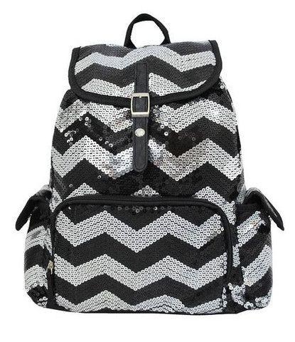 Glittery Sequined Chevron Print Drawstring Backpack Bookbag Black