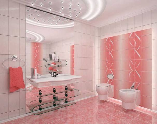 Touch of Pink Contemporary bathroom!