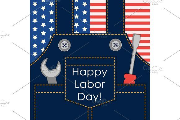 Primitive retro Labor Day card as worker overalls with tools on American flag background by All Cute Stuff on @creativemarket