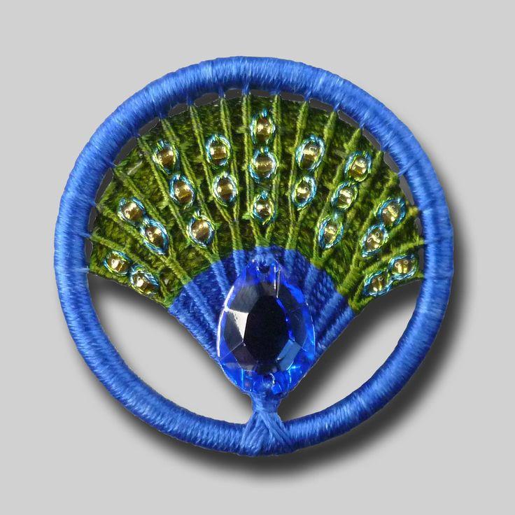 dorset button brooch lucky peacock silk thread jewel