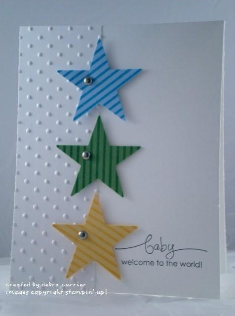 handmade card ... clean and simple stye ... three die cut stars ... panel of embossed cardstock ... luv this card!!