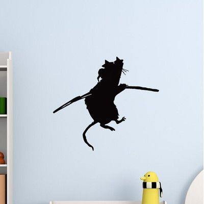 "Style and Apply Banksy Acrobat Rat Wall Decal Color: Pastel Orange, Size: 46"" H x 46"" W"