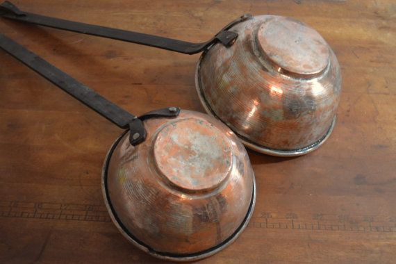 Rustic Ladles Vintage Ladles Copper Ladles Large by Vintassentials ~ETS #copperladles #vogueteam #vintagekitchen