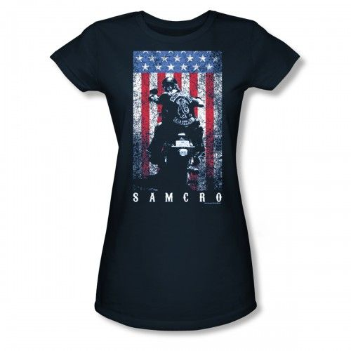 Sons Of Anarchy Women's 'SAMCRO' T-shirt - Navy