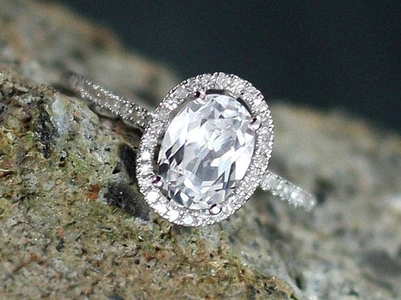 White Sapphire Engagement Ring Ovale Petite by BellAmoreDesign