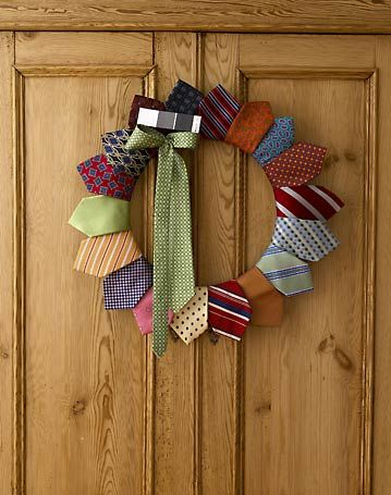Tie wreath - cool idea.  Bachelor party - Father's Day.  Think on it - and, I'm sure you can get creative and embellish it for a male focused event - business gathering etc.
