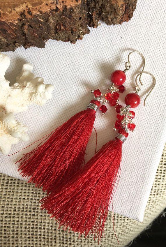 Red  Bridesmaid Jewellery  Tassel Earrings  by GreenGeckoJewellery