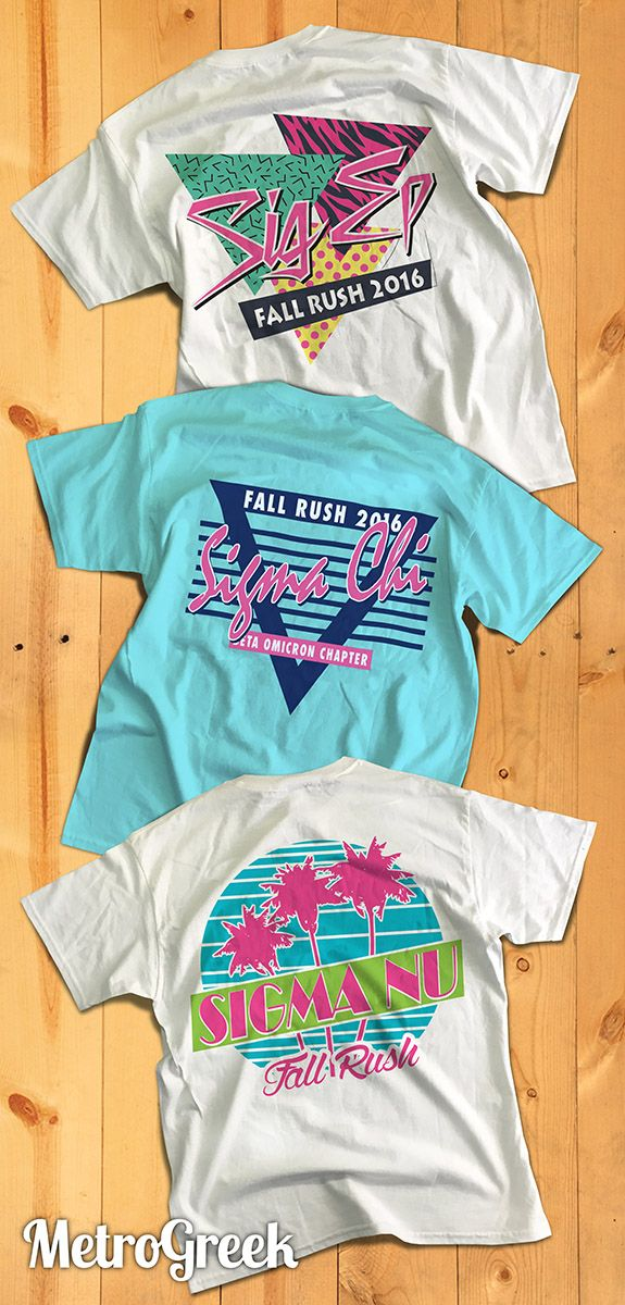 Awesome Retro Eighties Greek Designs! | Fraternity Rush | Rush T-shirts | Greek…