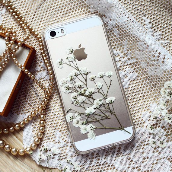 Floral white SE bumper • Resin floral bumper case iPhone 6 • Real flowers case iPhone 7 Plus • Babys breath flower case | Gypsophyla  Sprig of Gypsophila is hand-picked, pressed and covered with a clear resin. Looks great with any iPhone colour - silver, space grey, gold or rose gold.  It is easily washable with soap while the petals will remain safe. Please, look after your case and keep it away from direct sunlight so its colours will remain bright.  About: - made of light & slim plasti...