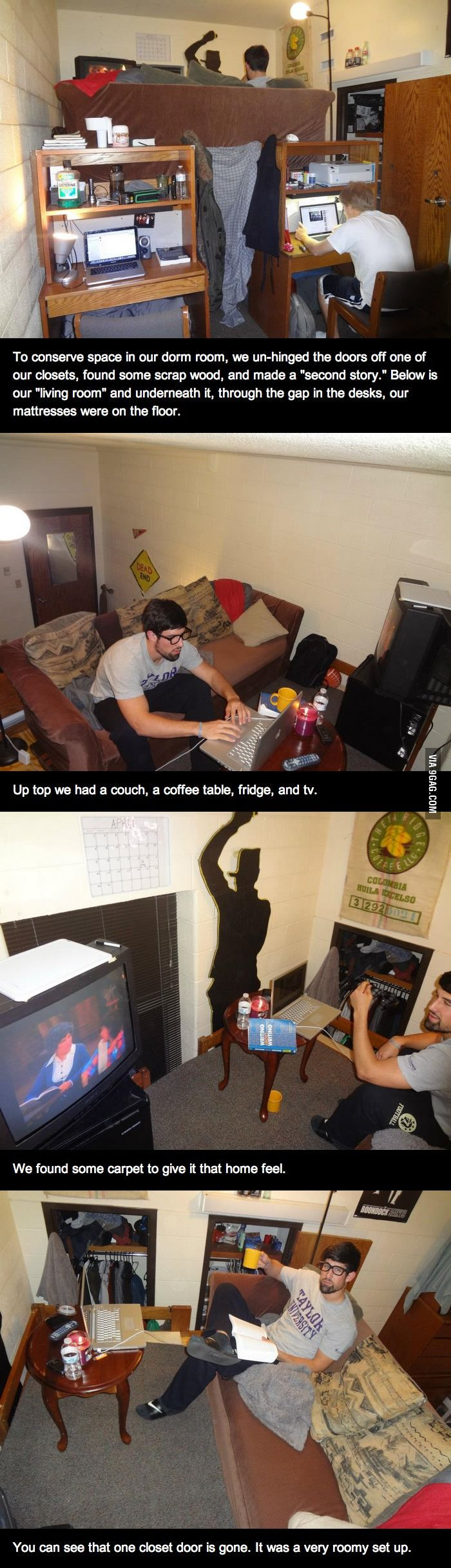 hahahhah But this is actually very impressive... How to make a double decker room by college guys