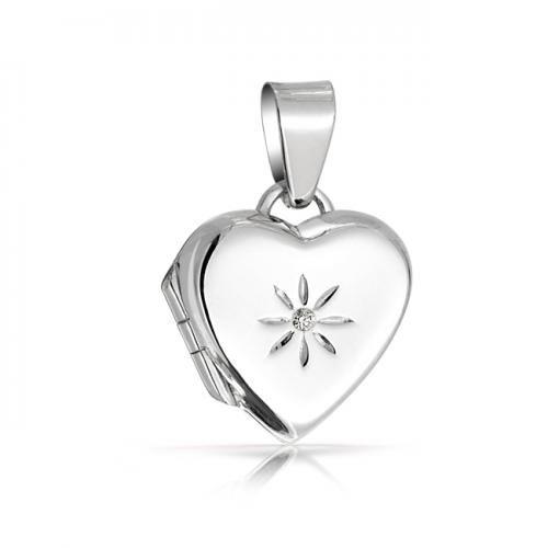 Childrens Heart Locket Star Flower CZ Pendant 925 Sterling Silver