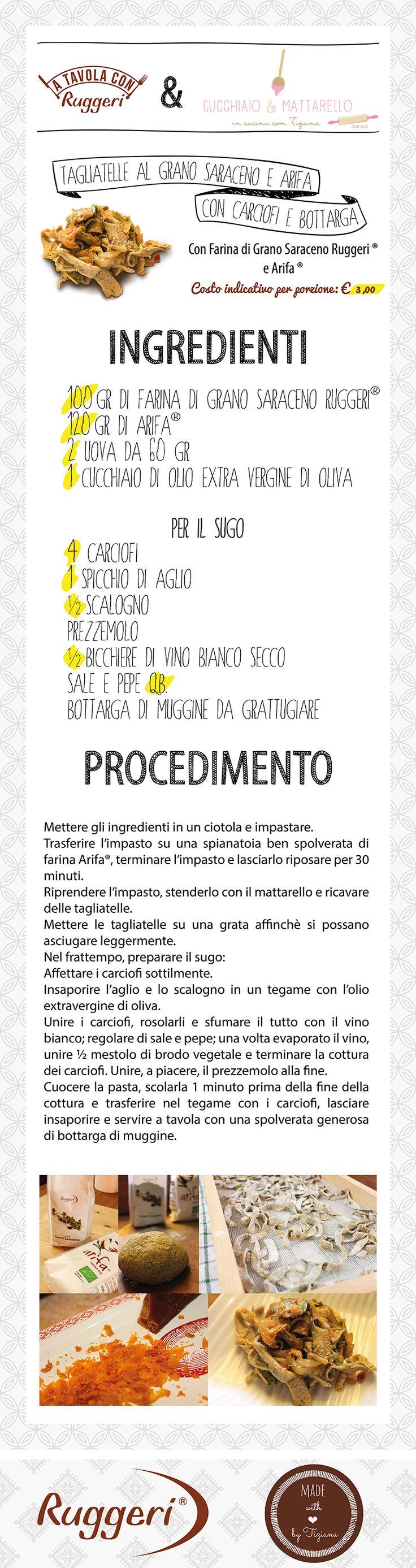 Ricetta per tagliatelle al grano saraceno e Arifa con carciofi e bottarga. Prodotti Ruggeri utilizzati: - Farina di Grano Saraceno Ruggeri, - Arifa. http://www.ruggerishop.it/it/ http://blog.alice.tv/cucchiaioemattarello/