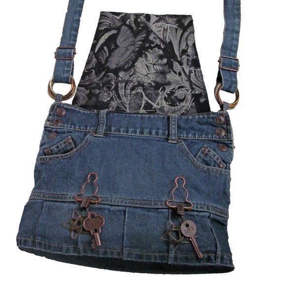 Steampunk Bag / Denim Purse / Recycled Denim by kkdesignerhandbags