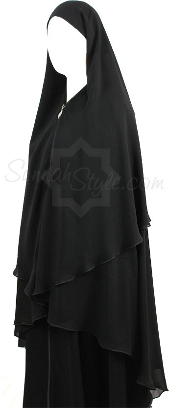 3-Layer Yemeni Khimar (Black) by Sunnah Style #SunnahStyle #hijabstyle #khimar #yemen