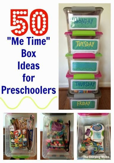 50 Busy Box Ideas for Preschoolers. Helpful resource for quiet time.