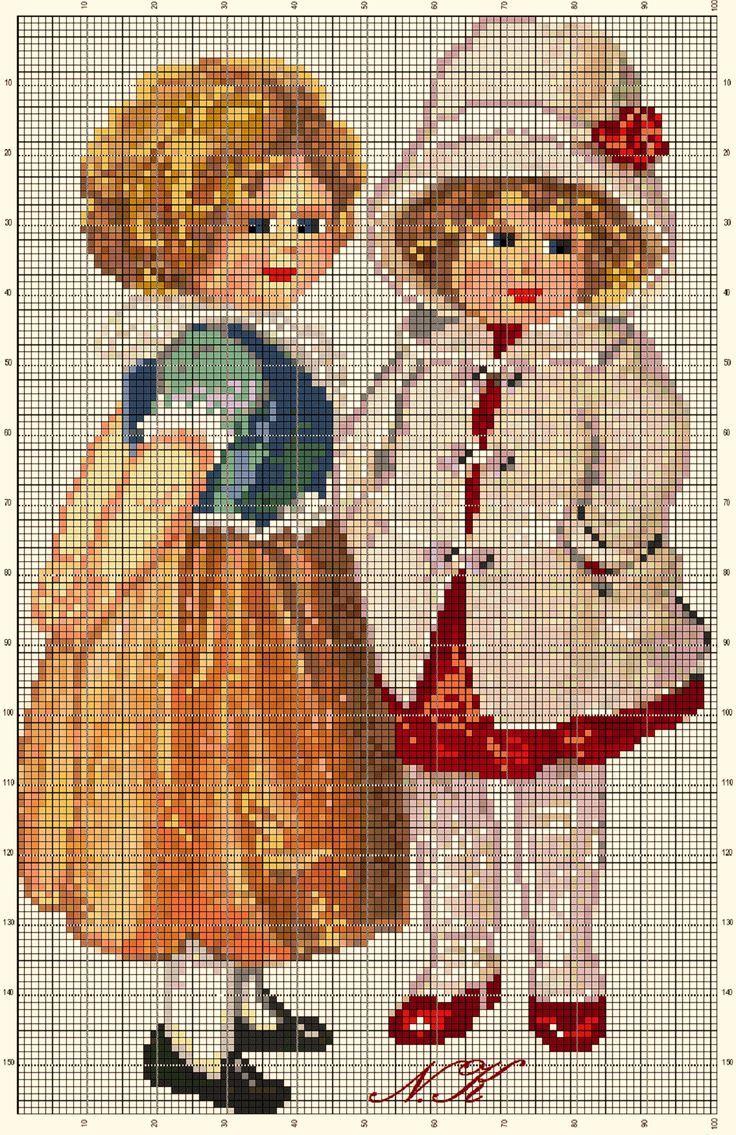Points de croix *@* cross stitch Girls - An adaptation work by Nurdan Kanber