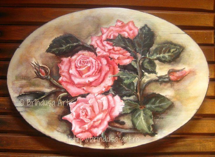 Brîndușa Art Wood painting: roses, acrylic painting, oval wall plaque. Romantic...  Pictură pe lemn: trandafiri, pictură în culori acrilice, placă ovală de pus pe perete. #woodpainting #flowers #roses