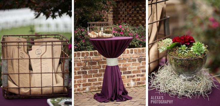 Dark purple wedding theme - programs, cocktail table, decor