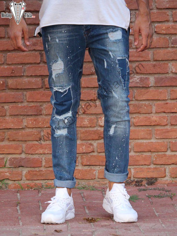 Erkek Kot Pantolon Mavi Taşlamalı Dizleri Yamalı Jeans
