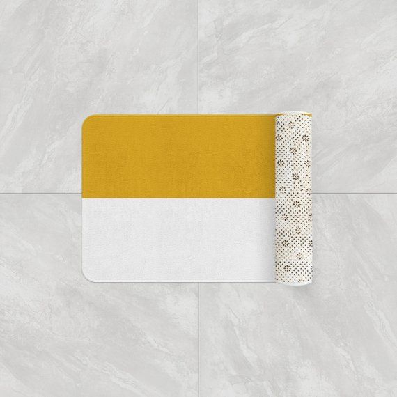 Mustard Yellow And White Striped Bath Mat Absorbent Memory Foam