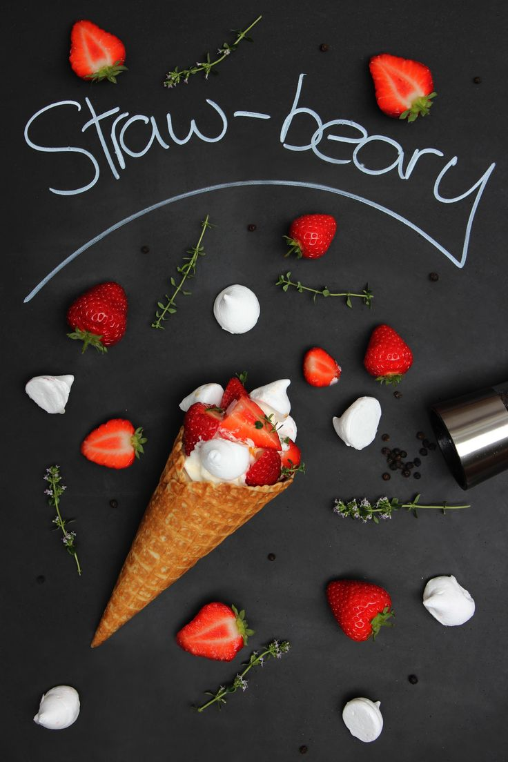 The Straw-beary, one of our signature cones. Strawberries, marengue, thyme, sherry vinegar and black pepper.