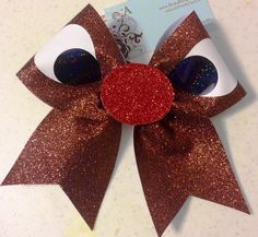 Bows by April - Rudolph Full Reindeer Glitter Cheer Bow, $18.00 (http://www.bowsbyapril.com/rudolph-full-reindeer-glitter-cheer-bow/)