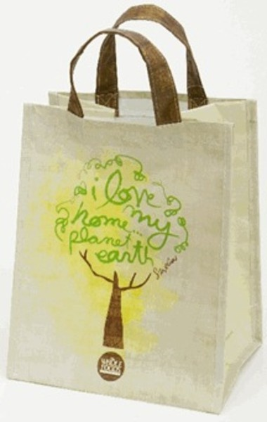 the denver look: a celebrity-designed whole foods reusable tote bag. in it, I'm guessing you're carrying aquafina, yoga pants and burts bees lip balm. AND your library books. you just finished reading The Girl with The Dragon Tattoo and you have The Help on hold.