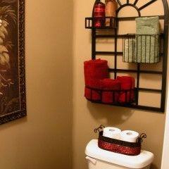 A pot rack in the bathroom!