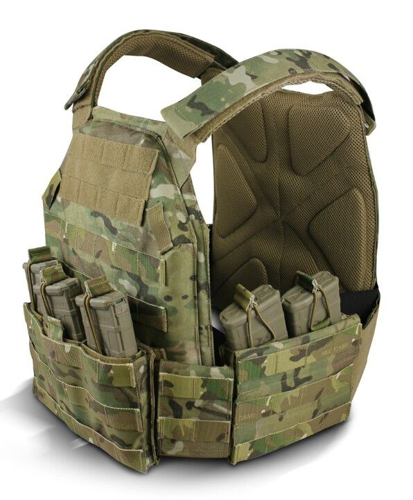 Tactical ballistic plate vest.