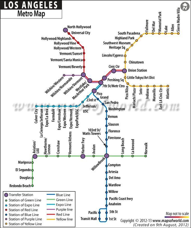 Los Angeles hollywood  city metro map