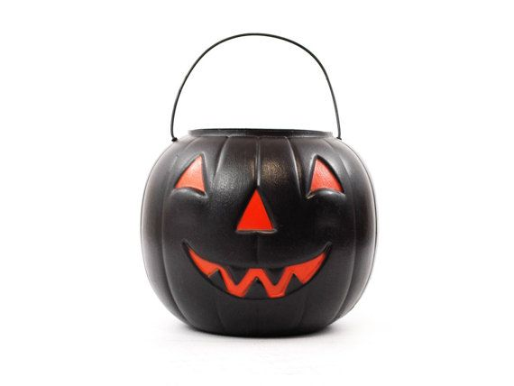 Vintage 7 Halloween Blow Mold Plastic Candy Container Bucket Unique Rare Black Jack O Lantern Pumpkin Pail. This is such a great shiny pumpkin pail