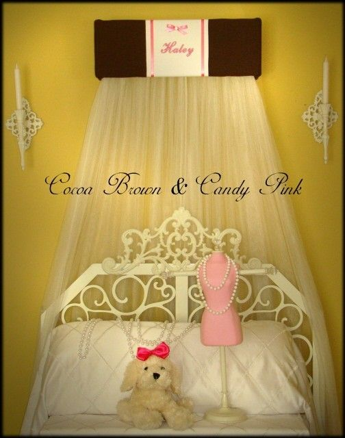 Personalized Crown Bed Canopy  Upholstered Teester Princess Monogrammed Brown Pink by SoZoeyBoutique on Etsy