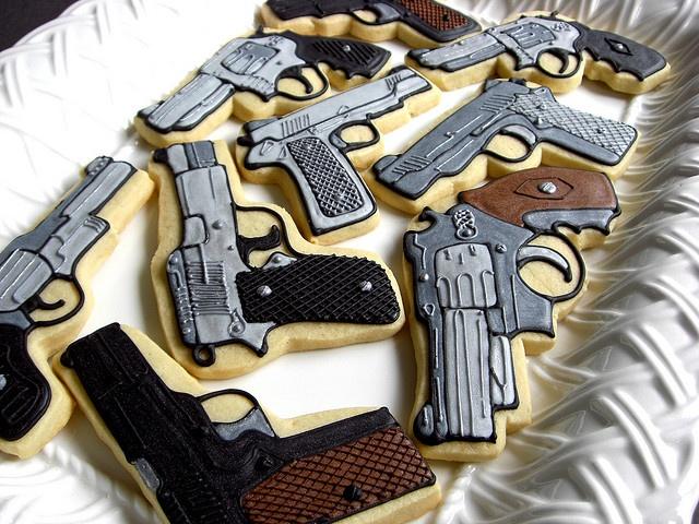 gun themed cookie